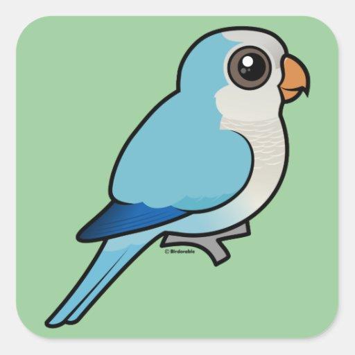 Quaker azul pegatina cuadrada