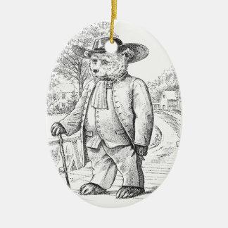 Quaker Bear - Letter Q - Vintage Teddy Bear Ceramic Ornament