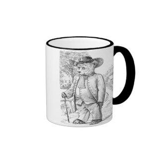 Quaker Bear - Letter Q - Vintage Teddy Bear Ringer Mug
