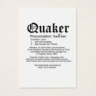 Quaker definition welcome card