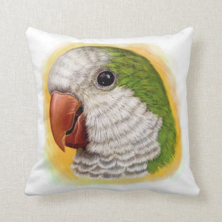 Quaker parrot realistic painting throw pillows