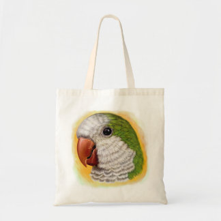 Quaker parrot realistic painting tote bag