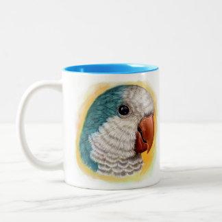 Quaker parrot realistic painting Two-Tone coffee mug