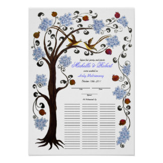Quaker Wedding 60 guests, blue Tree of Life Poster