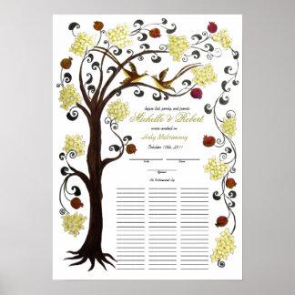 Quaker Wedding, 60 guests -Tree of Life, lemon Poster
