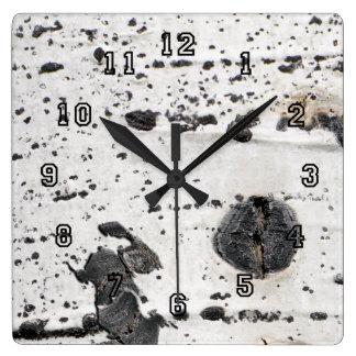Quaking Aspen Bark Close Up Photograp Wall Clock