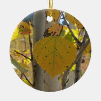 Quaking Aspen Leaf Ceramic Ornament