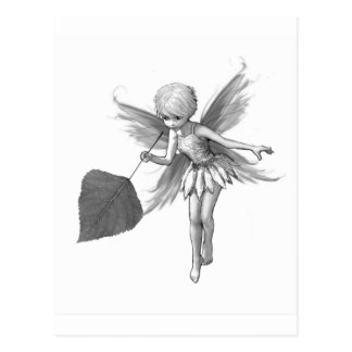 Quaking Aspen Tree Fairy with Leaf Postcard
