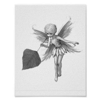 Quaking Aspen Tree Fairy with Leaf Poster