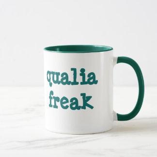 Qualia Freak sml green ringer mug (left-hand)