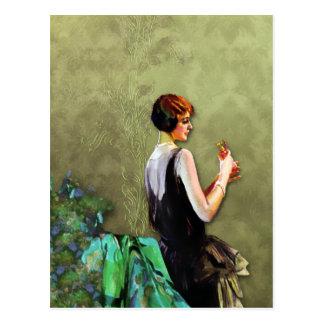 Qualida, 1920s Fashion in Aqua and Olive Postcard