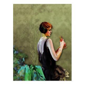 QUALIDA 1920s FASHION in AQUA and OLIVE Post Cards