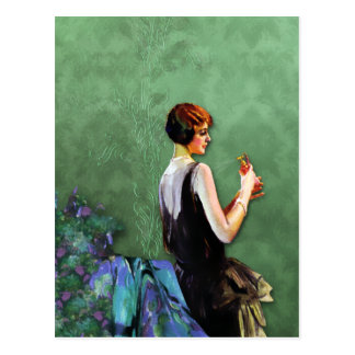 Qualida 1920s Fashion in Blue and Green Postcards