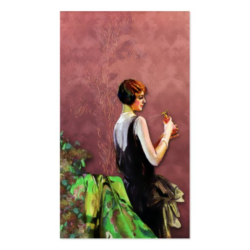 Qualida, 1920s Fashion in Green and Rose Business Card