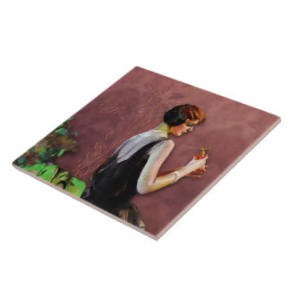 QUALIDA, 1920s FASHION in GREEN and ROSE Ceramic Tile