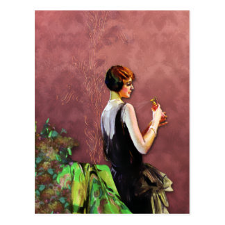 Qualida 1920s Fashion in Green and Rose Postcards