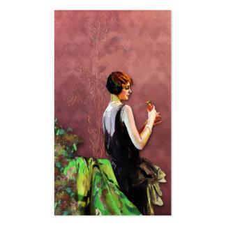 Qualida moda de los años 20 en verde y subió plantilla de tarjeta de visita