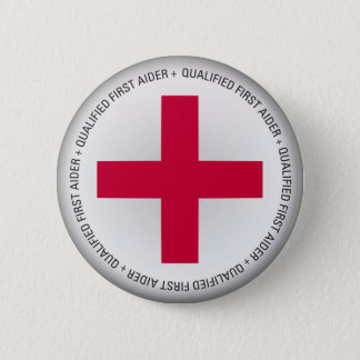 Qualified First Aider Medical Aid Pinback Button