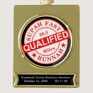 Qualified Super Fast Runner Gold Plated Banner Ornament