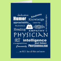 Qualities of a Good Physician/White Text on Blue Card