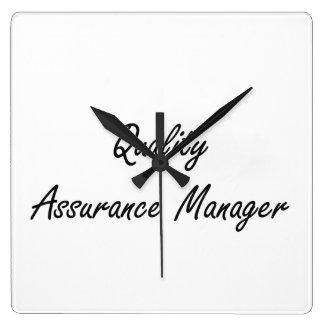 Quality Assurance Manager Artistic Job Design Square Wall Clock