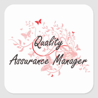 Quality Assurance Manager Artistic Job Design with Square Sticker