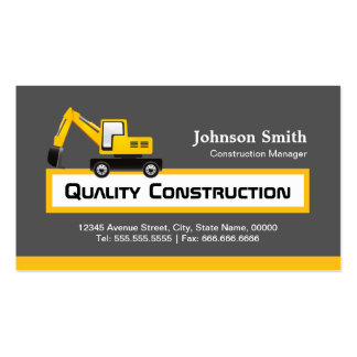 Quality Construction Company - Elegant Yellow Business Cards