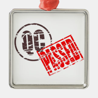 Quality control passed rubber stamp effect metal ornament