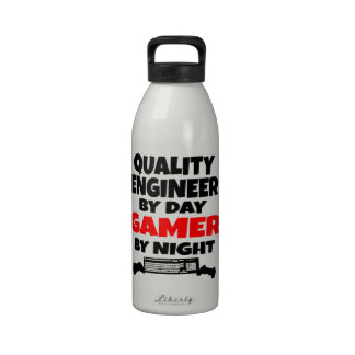 Quality Engineer by Day Gamer by Night Drinking Bottles