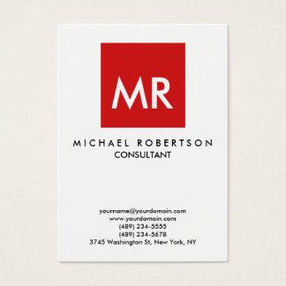 Quality Red White Monogram Elegant Unique Business Card