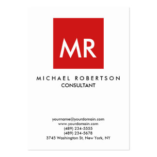 Quality Red White Monogram Unique Large Business Cards (Pack Of 100)