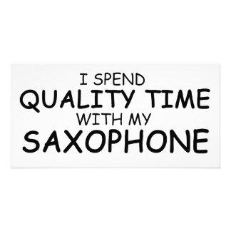 Quality Time Saxophone Custom Photo Card