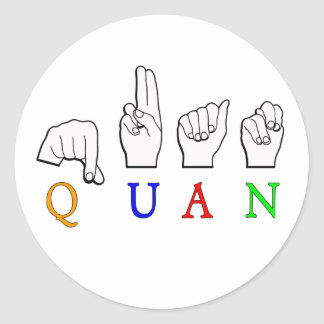 QUAN FINGERSPELLED ASL NAME SIGN CLASSIC ROUND STICKER
