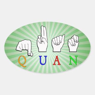 QUAN FINGERSPELLED ASL NAME SIGN OVAL STICKER