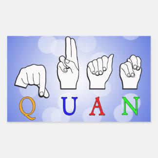 QUAN FINGERSPELLED ASL NAME SIGN RECTANGULAR STICKER