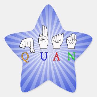 QUAN FINGERSPELLED ASL NAME SIGN STAR STICKER