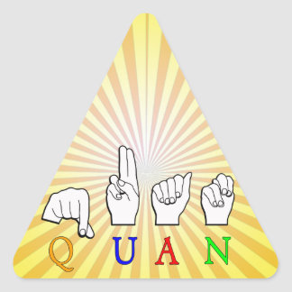 QUAN FINGERSPELLED ASL NAME SIGN TRIANGLE STICKER