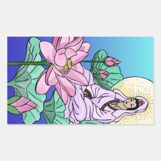 Quan Yin (Kuan Yin) in the Lotus Rectangular Sticker