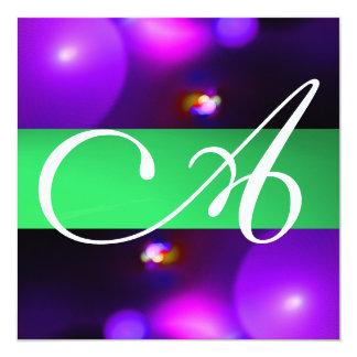 QUANTUM BUBBLE MONOGRAM  purple green Card