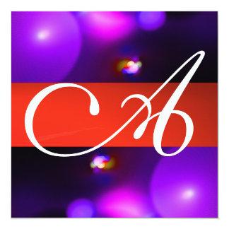 QUANTUM BUBBLE MONOGRAM  purple red Card