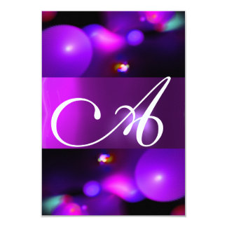 QUANTUM BUBBLE MONOGRAM  purple rsvp Card