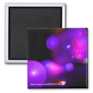 QUANTUM BUBBLES red violet 2 Inch Square Magnet