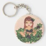 Quantum Cutie Grape Vine Girl Basic Round Button Keychain
