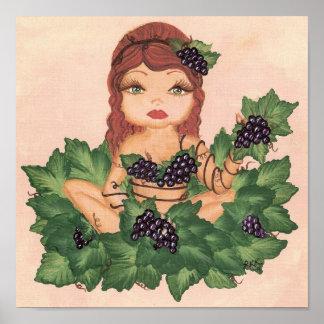 Quantum Cutie Grape Vine Girl Poster