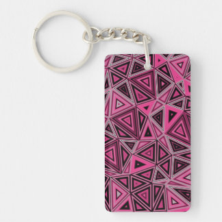 Quantum Geometry Pink Abstract Keychain