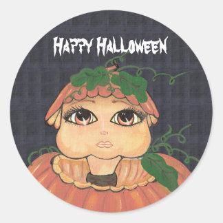Quantum Kid in a Halloween Pumpkin Classic Round Sticker