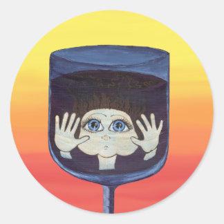 Quantum Kid in Wine Glass Classic Round Sticker