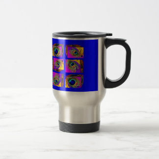 Quantum Theory Peacock Feather Cubes by Sharles Travel Mug