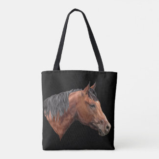 Quarab Horse Portrait Print Tote Bag