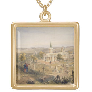 Quarantine Cemetery and Church, plate from 'The Se Square Pendant Necklace